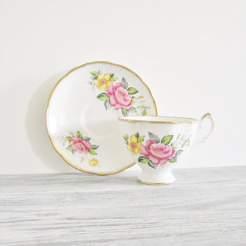 Vintage Bone China Floral Salisbury Teacup and Saucer Made in England