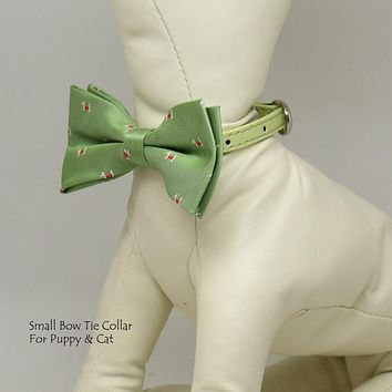 Tendrils Green Puppy bow, Small bow tie collar, Puppy Collar, Cat collar, Cat bow tie collar, Leather