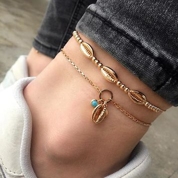Beautiful New Bohemian Style Hand Beaded Metal Shell Anklet Personality Double-Deck Beach Anklet