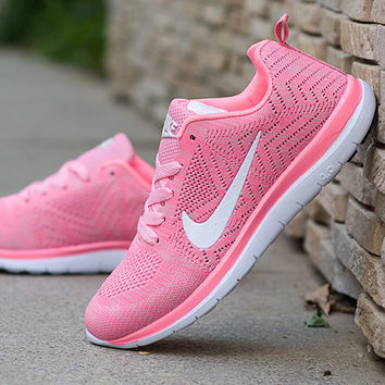 """NIKE"" Trending Fashion Casual Sports Shoes Pink white hook"
