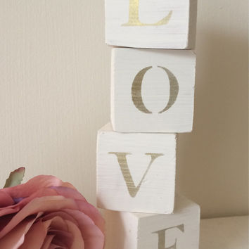 Wooden LOVE blocks shabby chic home decor