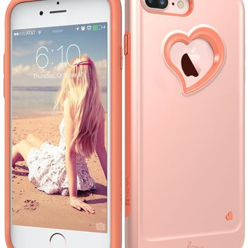 "iPhone 8 Plus Case, iPhone 7 Plus Case, Vena [vLove][Heart-Shape | Dual Layer Protection] Hybrid Bumper Cover for Apple iPhone 8 Plus, iPhone 7 Plus (5.5"" inch) (Rose Gold/Coral Pink)"