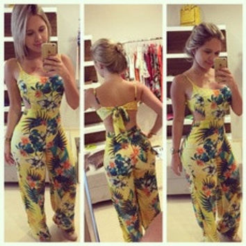 Summer New Fashion Women Sexy Backless Floral Printed Jumpsuit Beach Rompers Cute Piece Pants S-XL [7956628935]