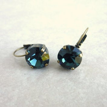 Swarovski crystal 11mm drop lever back earrings, blue earrings, GREAT PRICE,  designer inspired Siggy bling
