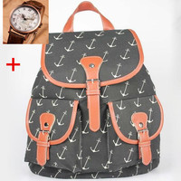 Anchor Print Travelling Bag School Bag Canvas Casual Backpack Lightweight Bookbag Daypack + Nice Gift