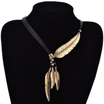 ac NOOW2 Women Black Rope Multilayer Feather Leaf Tassels Pendant Choker Necklace