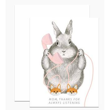 Bunny in Fox Slippers Card