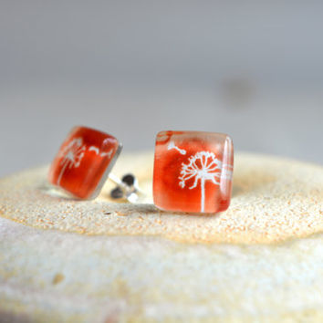 Dandelion earrings - Fused glass earrings - Sterling silver stud earring - Wishing earrings - Make a wish earring - Dandelion stud earrings