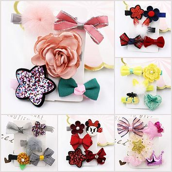 5pcs/lot Hair Clips for Girls Beauty Cute Cartoon Hairpins for Kids Micky Crown Stars Princess Flowers Bowknot Hair Accessories