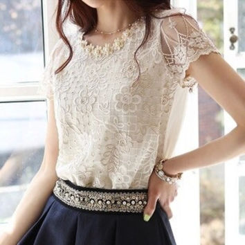 Women Blouses Shirts Short Sleeve Casual Shirt Lace Top Pearl Collar Plus Size Blouse W-311