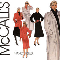 1980s Coat and Dress Pattern Bust 36 38 Uncut McCalls 8783 Wrap Coat Jacket, Cowl Neck Dress, Tunic and Skirt Womens Vintage Sewing Patterns