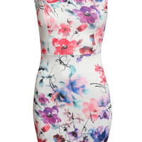 Pippa Floral Cut Out Detail Back Bodycon Dress