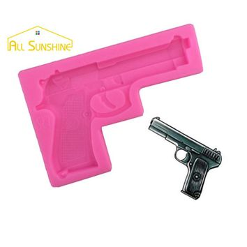 3D Baby Toys Gun Pistol Shaped Silicone Decorating Fondant DIY Molds Confeitaria Kitchen Utensils Pastry Baking Tool For Cakes