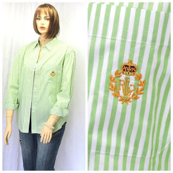 Vintage 80s Ralph Lauren white/green striped cotton oxford shirt L preppy long sleeve button down oxford blouse size14 SunnyBohoVintage