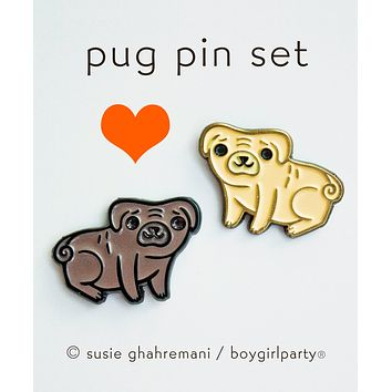 Pug Pin Set - Best Friend Pins - Enamel Pins Set - Lapel Pin Set
