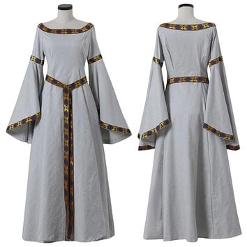 Women's Renaissance Medieval Irish Costume Dress Ball Gown Cosplay Costume