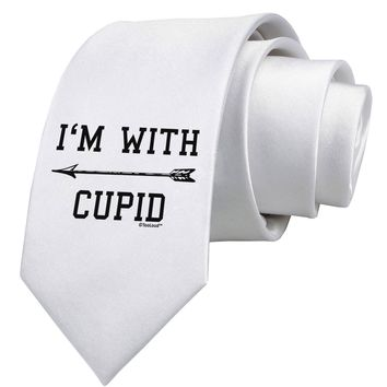 I'm With Cupid - Left Arrow Printed White Neck Tie by TooLoud