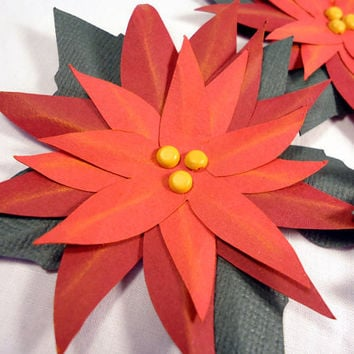 Red paper flowers, handmade paper poinsettias, gift toppers, scrapbook embellishment, christmas flowers, poinsetta, pointsetta,