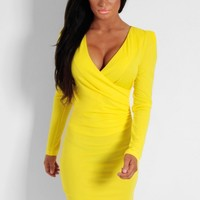 Goldilocks Yellow Plunge Wrap Bodycon Dress | Pink Boutique
