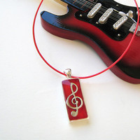 Treble clef music note red necklace. Unisex musician jewelry minimal small rectangle silver charm pendant rock jazz style ruby custom color