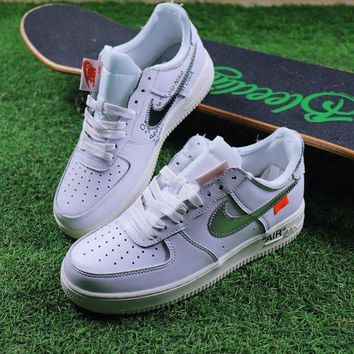 PEAPU3S Sale OFF WHITE x Nike Air Force 1 Low White Silver Sport Shoes Sneaker Design By Virgil Abloh