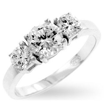 Nadia Triplet Round Cut Engagement Ring | 1.5 Carat | Sterling Silver | Cubic Zirconia