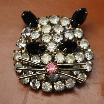 Rhinestone Cat  face Brooch - Clear black and pink crystal - silver tone metal - Figurine pin