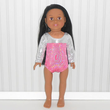 American Girl Doll Clothes Hot Pink and Silver Leotard Gymnastics/Dance Competition fits 18 inch Dolls