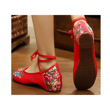 Vintage Chinese Embroidered Floral Shoes Women Ballerina Mary Ja 5d93b29093