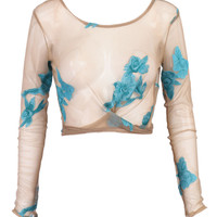 Blue Floral Wrap Front Tied Detail Sheer Cropped Beach Cover Up