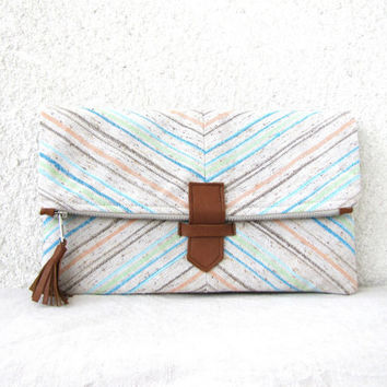 Fold over Clutch Purse Pastel Chevron linen and by HelloVioleta