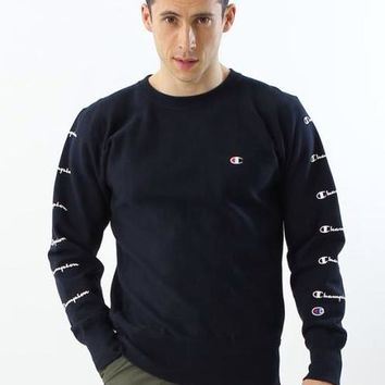 Champion autumn season tide brand round neck couple loose tide sweater Black