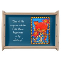 Cat show Happiness Quote with Monogram and Flowers Serving Tray