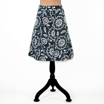 Cotton Skirt Women Small Blue and White Midi Skirt Aline A Line Skirt Block Print Casual Skirts for Women Size 4 Skirt GAP Womens Clothing