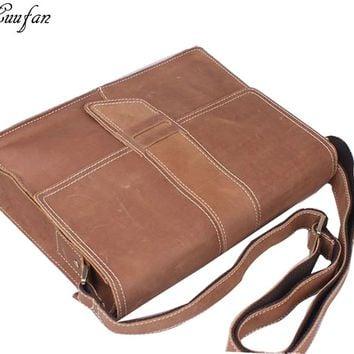 Men's Crazy horse leather messenger bag Cow leather shoulder bags for iPad Vintage school bag with magnetic button flap