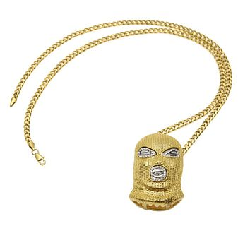 "Hip Hop Iced Out Gold Goon Ski Mask Pendant W/ 36"" Franco Chain"
