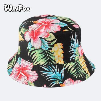 Winfox 2018 Fashion Summer Reversible Black Floral Flower Bucket Hats Caps Gorro Pescador Fisherman Hats For Mens Womens