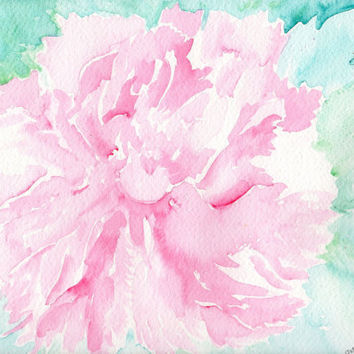 Original Whisper Soft Coral Peony Watercolor Painting, 9 x 12