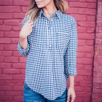 Blue Gingham Button Up Top