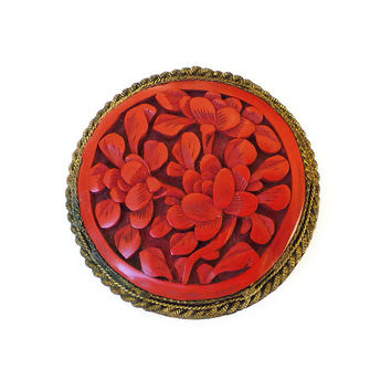 Chinese Cinnabar, China Brooch, Carved Red Pin, Gold Filigree, Floral Flower, Vintage Jewelry