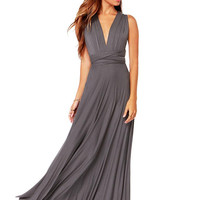 Grey Maxi Dress with a Cross Back