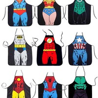 1PCs Super Hero Funny Novelty Sexy Lace BBQ Party Apron Cooking Apron Men Women Cheeky Kitchen Fancy Apron F0669