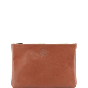 Large Leather Document Pouch, Brown - Ghurka