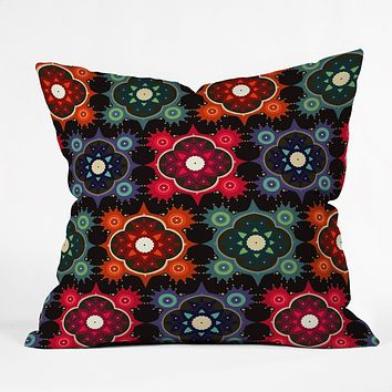Sharon Turner Galaxy Flowers Throw Pillow
