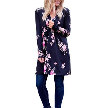 FEITONG Plus Size Women Cardigan 2017 Cotton Floral Tops Long Sleeve Long Kimono Cardigan Female Shirts Tunic Coat
