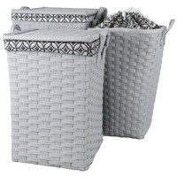 Laundry Hamper / Clothing Storage with Handles liner and lid (Set of 3) (Gray)
