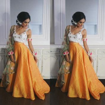 India Saree Taffeta Long Skirts For Women Puffy Floor Length Bal Gowns Feamle Maxi Skirt Zipper Boho Faldas Saia  Orange