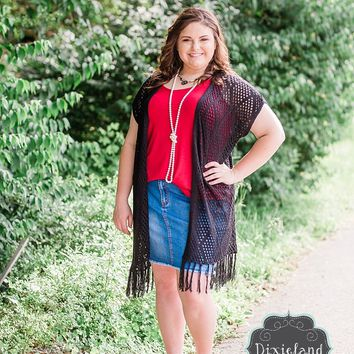 {Plus} Black Crochet Vest