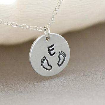 New Mommy Necklace, Baby Foot Necklace, Gift for New Mom, New Mom Jewelry, Gold or Silver Disc Necklace Initial