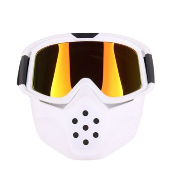 Men's and women's vintage helmet mask, detachable goggles and oral filter shield - winter snow sports ski snowboard snow glasses
